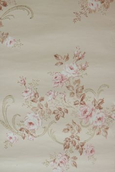 Vintage French Wallpaper | ... Pink Rose...Vintage Wallpaper AND 1 yd Antique French Silk Ribbon