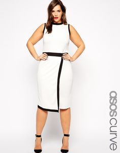 Fashion design plus size casual dress curve party dress women with black and white contrast color Plus Size Bodycon Dresses, Plus Size Formal Dresses, Plus Size Outfits, White Work Dresses, Casual Work Dresses, White Dress, Trendy Dresses, Lace Dress, Plus Size Fashion For Women