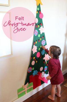 Árvore de feltro - DIY - 10 ideias de decoração de Natal para fazer com as crianças | Macetes de Mãe