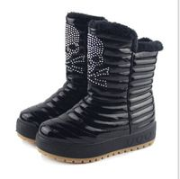 2014 hotsell rhinestone skull snow sheepskin boots women genuine leather platform high boots lady winter shoes#SJJ971