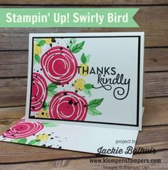 Simple card made using Stampin' Up! SWIRLY BIRD stamp set. All the details are on the blog! Created by Jackie Bolhuis, Stampin' Up! Demonstrator. 100's of StampinUp card ideas on blog.