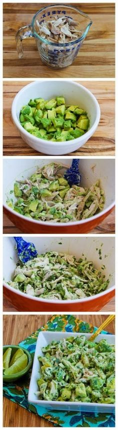 Recipe for Chicken and Avocado Salad with Lime and Cilantro. I would eat the heck out of this!!!!!