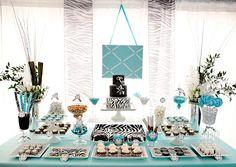 Twist on breakfast at Tiffanys party theme.  Tiffany blue, black, and zebra print.