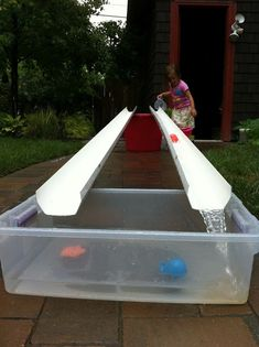 A Childhood List: Gutter and Water Play transport sensory Water Play For Kids, Kids Outdoor Play, Backyard For Kids, Outdoor Fun, Diy For Kids, Garden Kids, Kids Water Table, Backyard Games, Outdoor Games