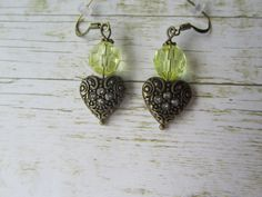Bronze Heart Earrings, Valentine Earrings, Valentine Jewelry, Yellow Earrings, Earrings, Valentine Gifts, Valentines Day, Bridesmaid Gifts by BrownBeaverBeadery on Etsy