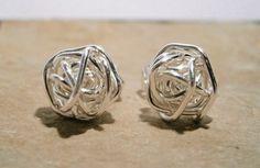 Silver Stud Earrings-Wire Wrapped Stud Earrings from Bruno by DaWanda.com