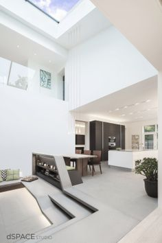 dSPACE Atrium House- Zen Garden Atrium: Bamboo, Concrete Built-in Bench Seating, Glass Roof Skylight