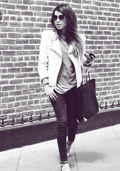 Laid back cool<3    white leather jacket http://rstyle.me/~22iLp   gap jeans http://rstyle.me/~22iF9  alexander wang bag http://rstyle.me/~22iP9