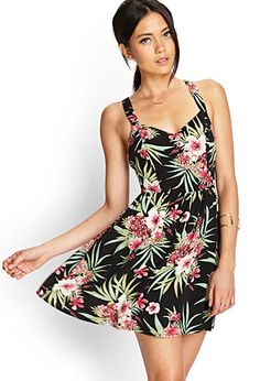 Forever 21 Tropical Floral Woven Dress in Floral (Black/olive) Luau Outfits, Hawaii Outfits, Cool Outfits, Forever21, Luau Dress, Fiesta Outfit, Fashion Prints, Fashion Design, Style Fashion