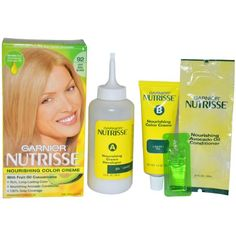 Garnier Nutrisse Nourishing Color Treatment with Fruit Oil Concentrates, Level 3 Permanent, Light Beige Blonde 92. Gives rich, healthy looking color. Nourishes hair. Keeps your color rich and healthy.