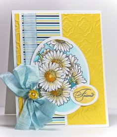 Today's Focus Friday over at Flourishes is on a gorgeous set, Gerber Daisies… Sunflower Cards, Poppy Cards, Creative Closets, Daisy Love, Handmade Card Making, Spellbinders Cards, Friendship Cards, Card Making Inspiration, Copics
