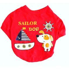 Camiseta para Cachorro Sailor Vermelha Dear Dog - MeuAmigoPet.com.br #petshop #cachorro #cão #meuamigopet