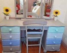 Shabby Chic Dressing Table - Retro Dressing Table - Shabby Chic Furniture - Bedroom Furniture - Grey Blue Dressing Table #shabbychicbedroomsblue #shabbychicfurniture #bedroomfurniture