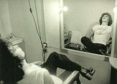 Tim Curry taking a break while filming Rocky Horror Picture show. 1975