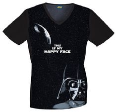 """This """"Darth Vader"""" top is perfect for the Star Wars fan! Find it at The Uniform Outlet! Cherokee Uniforms, Cherokee Scrubs, Disney Scrubs, Cherokee Woman, Black Scrubs, Medical Scrubs, Nurse Scrubs, Neck Stretches, Diet"""
