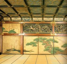 Fusuma painting in Nijo Castle at Kyoto