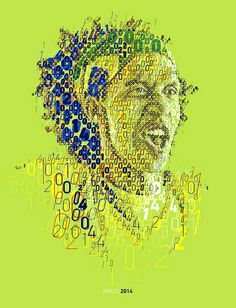 BRASIL 2014: KICK OFF! An experimental typographic mosaic poster tribute for Brasil 2014 by Charis Tsevis.  Brasil 2014, Brazil, Soccer, FIFA, World Cup, Football, sports, fans, excitement, typography, lettering, mosaic, photomosaic, vector, letters, word, numbers, green, yellow, blue, sun,