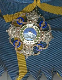 Iran Persia Medal Order of Pahlavi Grand Cross Sash Badge. Silver, gold and enamel with sash. Order of Pahlavi was Pahlavi era's highest decoration