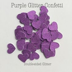 Purple Glitter Confetti Circles or Hearts by WildfireEvents