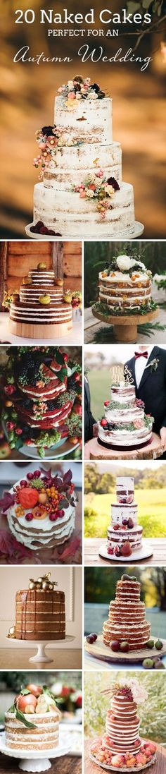20 Naked Cakes Perfect for a Fall Wedding | SouthBound Bride | Full credits & links: http://www.southboundbride.com/naked-cakes-for-autumn-weddings