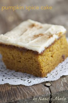 Pumpkin Spice Cake. . Cinnamon. Ginger. Nutmeg. Cloves. And Pumpkin. Oh how I love the pumpkin!