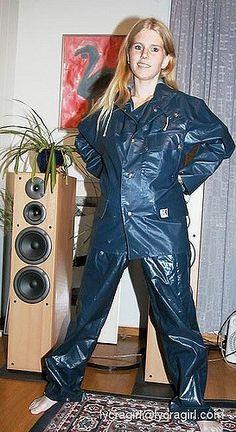 bluerainwear01 | galontjejen | Flickr Blue Raincoat, Plastic Raincoat, Pvc Raincoat, Pvc Hose, Nylons, Vinyl Clothing, Rain Suit, Rain Gear, Overall