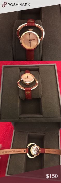 Vivienne Westwood watch Gold stainless steel watch with brown genuine leather band, never worn, in box Vivienne Westwood Jewelry Bracelets