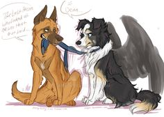 All Dogs Go To Heaven..Except Dean by Aibyou on DeviantArt>>> XD Someone made destiel dogs! Love it.