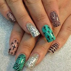 Silver teal and brown, with cheetah print stripes and zebra print, including crosses