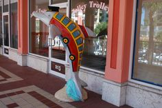 So cute is this Jolley Trolley Dolphin, located at 213 Mandalay Avenue, Clearwater.  Artist:  Lynne Parrish