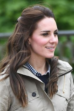 The Duchess of Cambridge wears a Troy London Parka to visit a children's farm in Wick Court