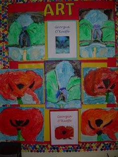 Georgia O'Keefe art done in my Kindergarten class. We discussed the artist and looked at pictures of her flowers. I picked 4 flowers that would be simple to do, and then kids picked which ones they wanted to draw and paint. We used pencil to draw the flower one day step by step in small groups. We painted them using bio color paint the next day.
