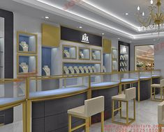 Choose best jewellery counter display and showcase for shop suppliers and best jewellery counter manufacturers. Jova Display Furniture co. offers clients affordable modern shop furniture for jewelry watch,cosmetic,clothing and more. Jewellery Shop Design, Jewellery Showroom, Jewellery Display, Jewelry Shop, Showroom Interior Design, Home Stairs Design, Luxury Store, Counter Display, Store Interiors