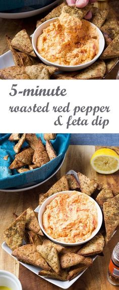 5-minute roasted red pepper and feta dip