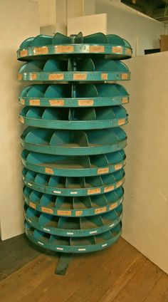 Blue Green Metal Rotary Organizer Store Fixture Bolt Cabinet Industrial Revolving Storage Ht 71 inches. via Etsy.