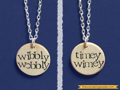 """Dr. Who """"Wibbly Wobbly Timey Wimey"""" Double-Sided Hand Stamped Doctor Who Necklace - Whovian Jewelry. $19.95, via Etsy."""