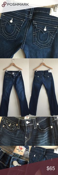 TRUE RELIGION 🎀 Dark Wash Bling, 30 x 34 Stretch Beautiful dark wash!  True Religion jeans!  Some wear to the bottoms as pictured in the last photo.  Gorgeous rhinestone button detailing!!!  Original price is an estimation. 💗💕💗💕 (A1X201216XFTC) True Religion Jeans