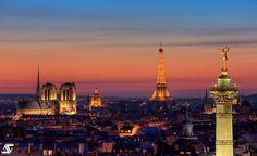 Paris from Bastille @ sunset | Tour Eiffel, Notre-Dame et Le Génie de la Bastille, Paris, France (HDR)