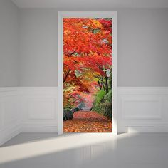Door Wall Sticker Autumn leaves on the Walkway Peel Stick Repositionable Fabric Mural 31w x 79h 80 x 200cm -- Find out more about the great product at the image link. Door Stickers, Wall Stickers Murals, 3d Wallpaper Mural, Photo Wallpaper, Door Design, Wall Design, Illusion 3d, Painted Closet, Faux Walls