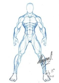 Anatomy Drawing Reference Male Anatomy Template: Front by Shintenzu - Male Pose Reference, Body Reference Drawing, Body Drawing, Anatomy Reference, Drawing Muscles, Drawing Faces, Drawing Male Anatomy, Male Figure Drawing, Anatomy Sketches