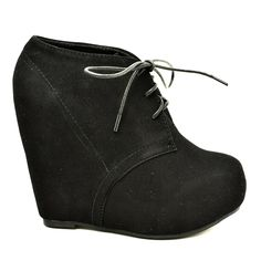 Women Faux Suede Lace Up Platform Wedge Ankle Bootie * Check this awesome product by going to the link at the image. (This is an affiliate link and I receive a commission for the sales)