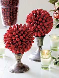 Holiday Craft Topiary, great for Christmas or Valentine's Day. Made with Red Pistachios. Diy Christmas Decorations Easy, Holiday Centerpieces, Valentine Decorations, Holiday Crafts, Tulip Centerpieces, Holiday Ideas, Pistachio Shells, Pistachio Tree, Christmas Decoration Crafts