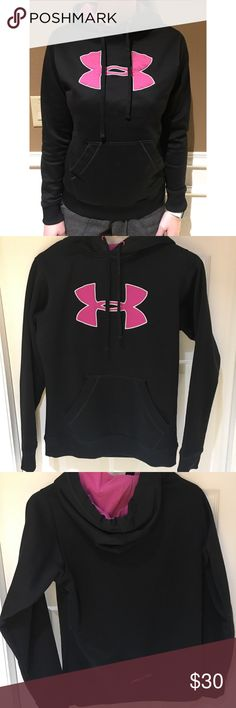 WOMENS UNDER ARMOUR HOODIE Women's Under Armour fleece lined hoodie.   Gently used and in great condition. Very comfortable material and warm. Size adult small. Colors are black with pink details.   Comment with any questions Under Armour Jackets & Coats
