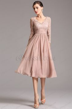 Tea Length Grey Vintage Lace Chiffon A-line Cocktail Dress with Sleeves - VictoriasQueen. Tea Length Cocktail Dresses, Cocktail Dresses With Sleeves, A Line Cocktail Dress, Tea Length Dresses, Mob Dresses, A Line Prom Dresses, Homecoming Dresses, Sexy Dresses, Evening Dresses