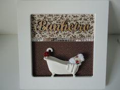 Placa para banheiro, com fundo em tecido e palavra em mdf, pode ser feito na cor desejada ou com palavra lavabo. R$ 79,90