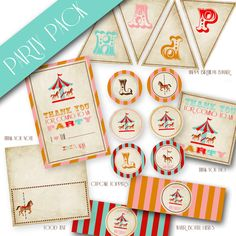 Carousel Ticket Matching Printable Party Pack by designink on Etsy, $15.00