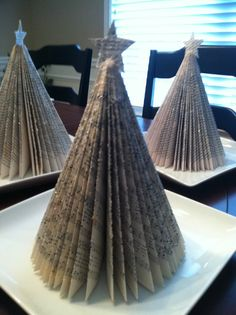 Christmas trees from books...fun and easy!  They look great on my mantle for Christmas!
