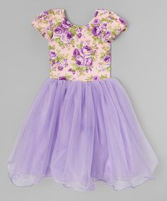 Purple Floral Sheer-Overlay Dress - Toddler & Girls by Wenchoice #zulily #zulilyfinds