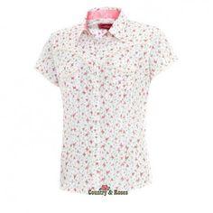 e80492ce46 Jeanette es una bonita camisa country blanca de manga corta con estampados  florales y detalles de