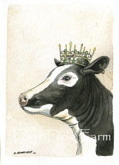 What a beauty!! Cow Queen!!    This artwork are titled Cow Queen. It is part of my kings and queens series.    This unique print is printed on 140 lb.  handpainted print poor dog farm etsy